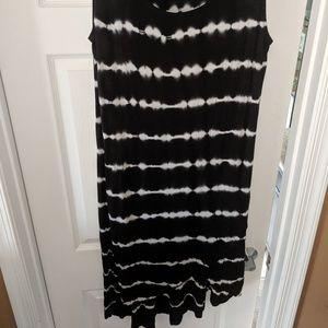 Tie Dye Black and White Summer Dress